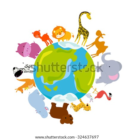 Animals and globe - stock vector