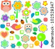 animals and nature design elements. vector retro background - stock vector