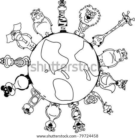 Animals around the Earth - stock vector