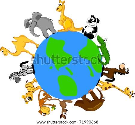 animals around the globe, the vector - stock vector