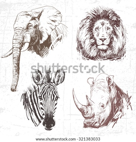 Animals around the World (Africa). Collection of hand drawn illustrations (originals, no tracing). Description: Each drawing comprise of one color - stock vector
