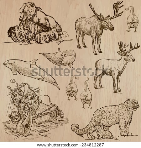 Animals around the World (part 19). Pack of an hand drawn vector illustrations. Each drawing comprise of two or three layers of lines, the colored background is isolated. Editable in group and layers. - stock vector