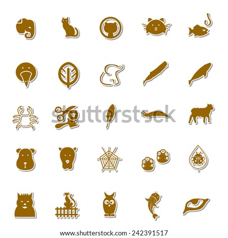 Animals Art icon set 3 - stock vector