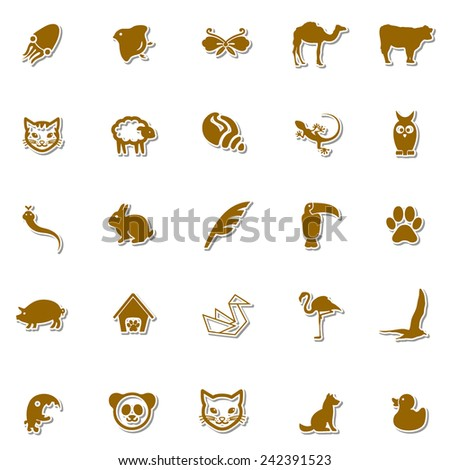 Animals Art icon set 4 - stock vector