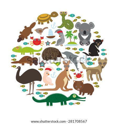 Animals Australia. Echidna Platypus ostrich Emu Tasmanian devil Cockatoo parrot Wombat snake turtle crocodile kangaroo dingo octopus fish. Vector illustration - stock vector