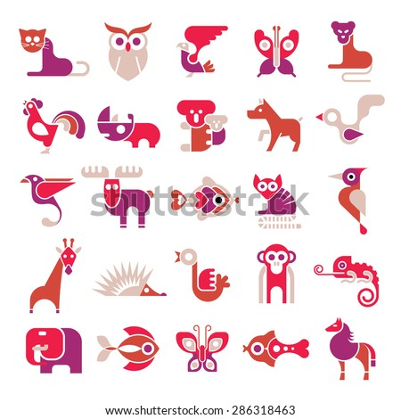 Animals, birds and fishes - large vector icon set. Various isolated colorful clip arts on white background.  - stock vector