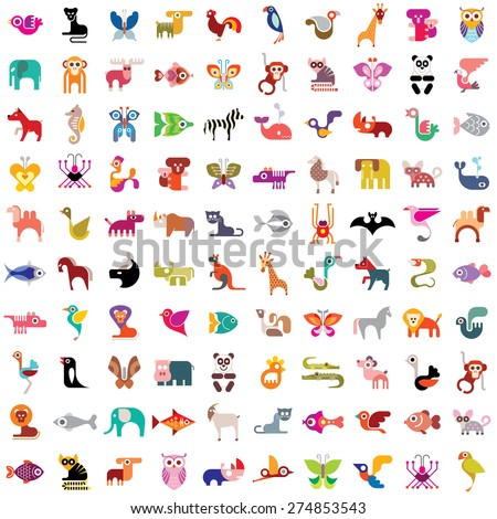 Animals, birds, fishes and insects large vector icon set. Various isolated colorful images on white background. Can be used as seamless background. - stock vector