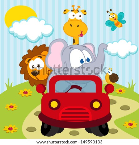 animals by car - vector illustration - stock vector