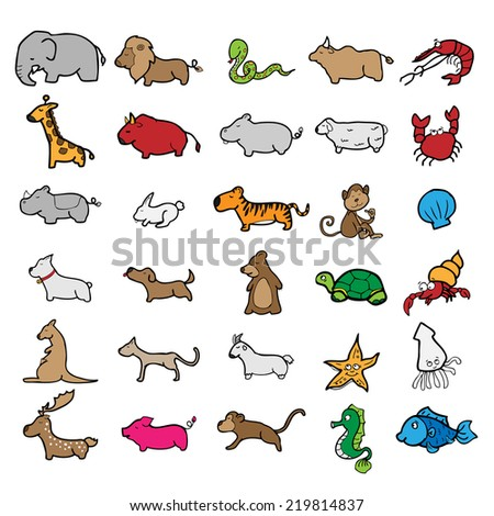 Animals character cartoon drawing vector - stock vector