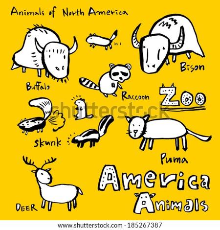 Animals drawing / zoo - stock vector