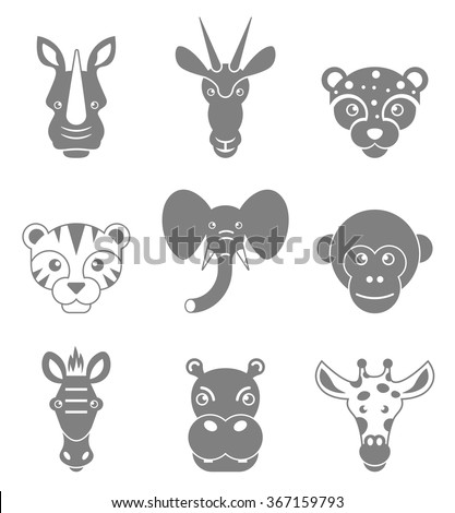 Animals face set. Rhino, antelope, leopard, tiger, elephant, monkey, zebra, hippo and giraffe head or face icons. Black isolated silhouettes. Vector illustration. - stock vector
