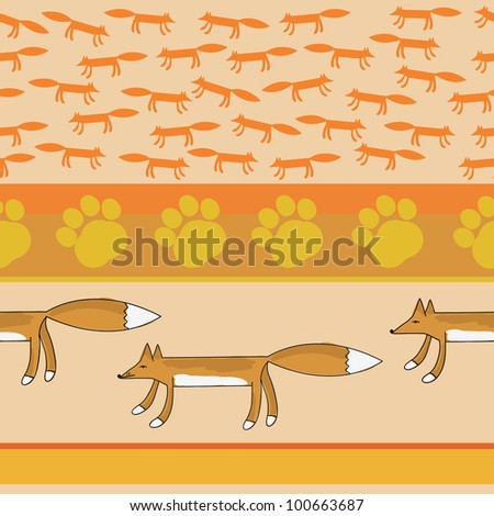 animals fox texture seamless pattern in vector - stock vector