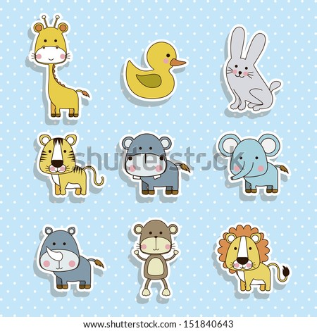 animals icons over dotted background vector illustration  - stock vector