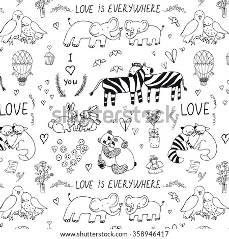 Animals in love valentine's day outline pattern - stock vector