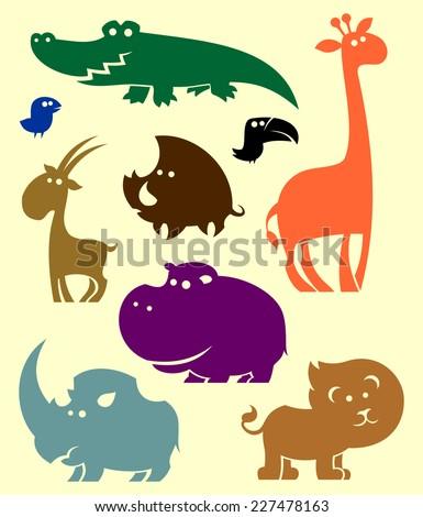 Animals of Africa set. - stock vector