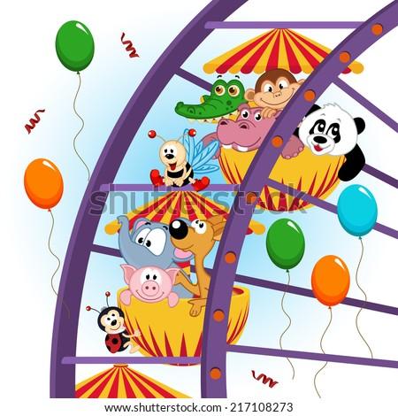 animals on ferris wheel - vector illustration, eps - stock vector