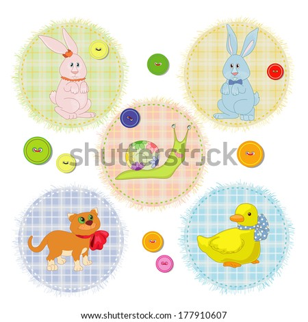 Animals on the scrap - stock vector