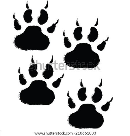 animals paw print. vector illustration - stock vector