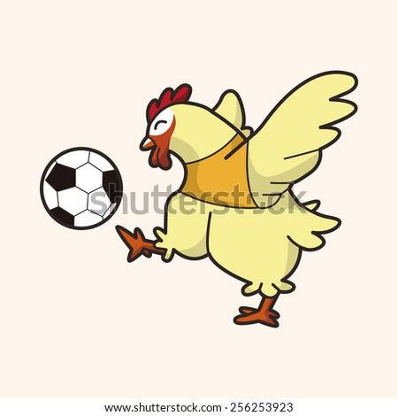 Animals play football cartoon theme elements - stock vector