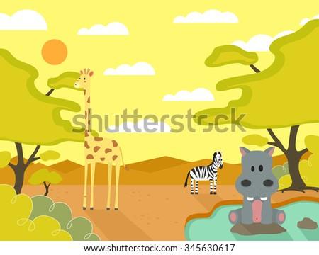 Animals Safari Sunset - stock vector