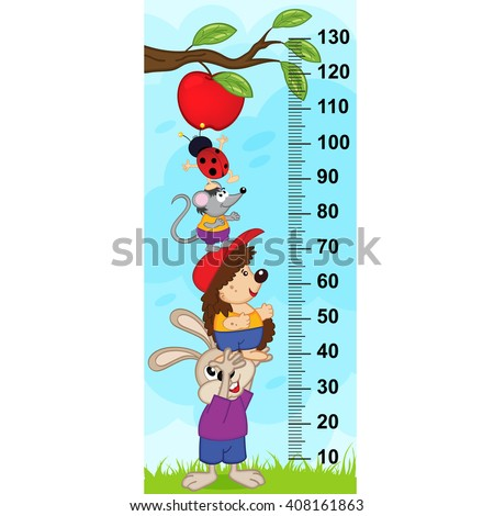 animals want to pick apple from the branch  (in original proportions 1:4)- vector illustration, eps  - stock vector