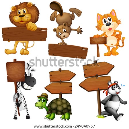 Animals with signboards on a white background - stock vector