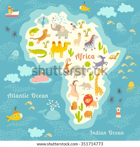 Animals world map, Africa. Beautiful cheerful colorful vector illustration for children and kids. With the inscription of the oceans and continents. Preschool, baby, continents, oceans, drawn, Earth - stock vector