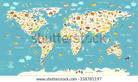 Animals world map. Beautiful cheerful colorful vector illustration for children, kids. Inscription of the oceans and continents. Eurasia, Africa, Australia, North America and South America continents - stock vector