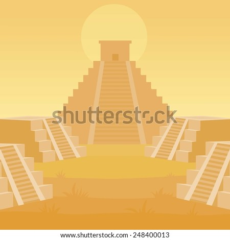 Animation landscape of a pyramid Maya. - stock vector