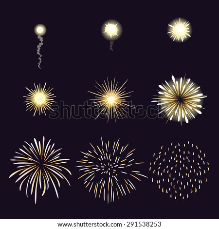 Animation of firework effect in cartoon comic style. Festival and event, celebrate and party. Vector illustration - stock vector
