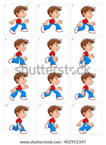 Animation of running boy, twelve frames - stock vector