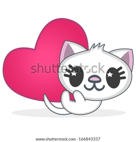 anime cat isolated on white background - stock vector