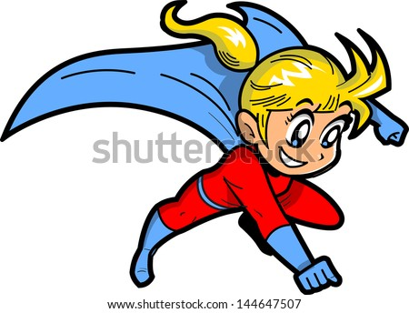 Anime Manga Blonde Young Girl Flying Superhero With Cape - stock vector