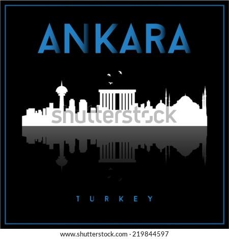 Ankara Turkey, skyline silhouette vector design on black background. - stock vector