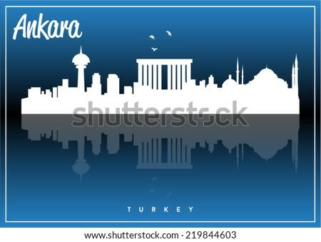 Ankara, Turkey skyline silhouette vector design on parliament blue background. - stock vector