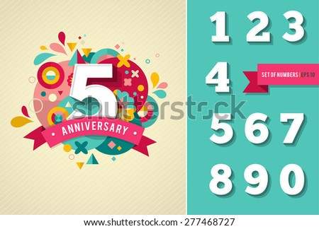 anniversary - abstract background with icons and elements - stock vector