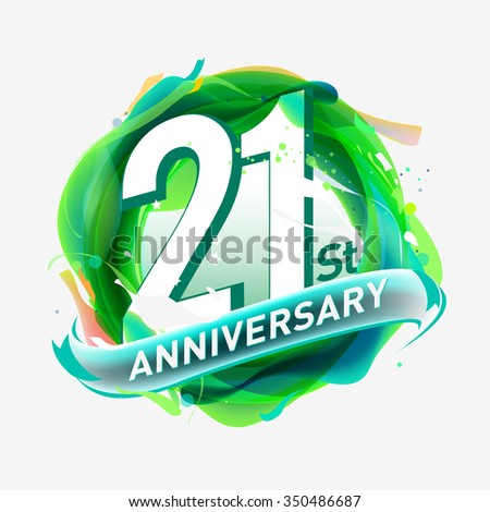 anniversary 21 - abstract green background with icons and elements - stock vector