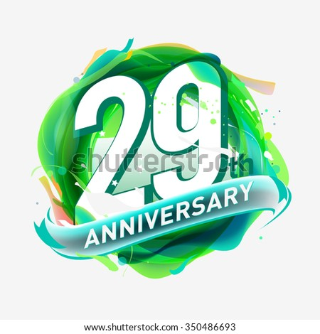 anniversary 29 - abstract green background with icons and elements - stock vector