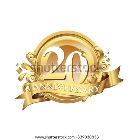 anniversary golden decorative background ring and ribbon 20 - stock vector