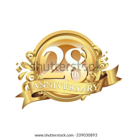 anniversary golden decorative background ring and ribbon 28 - stock vector