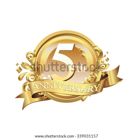 anniversary golden decorative background ring and ribbon 5 - stock vector