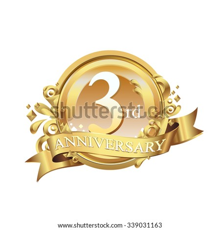 anniversary golden decorative background ring and ribbon 3 - stock vector
