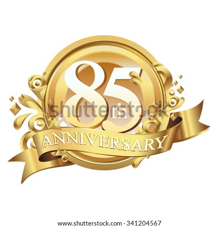 anniversary golden decorative background ring and ribbon 85 - stock vector