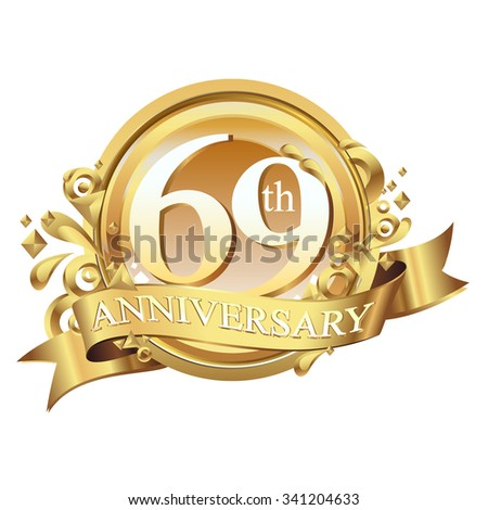 anniversary golden decorative background ring and ribbon 69 - stock vector