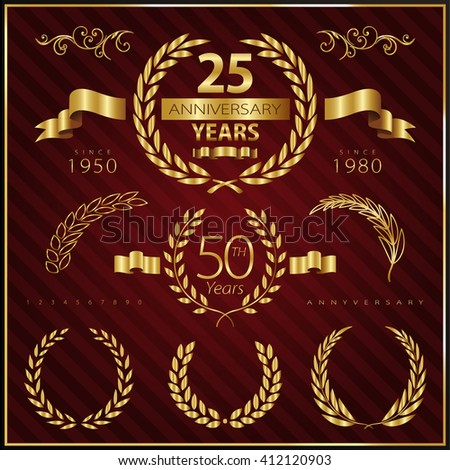Anniversary golden emblems and decorative elements - stock vector