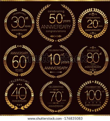 Anniversary golden laurel wreath collection - stock vector