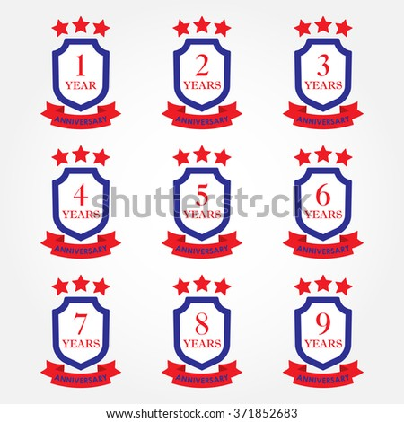 Anniversary icon set. Anniversary emblems with shield and ribbon. 1,2,3,4,5,6,7,8,9 years. Celebration, invitation and congratulation design element. Colorful vector illustration. - stock vector