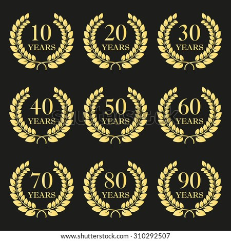 Anniversary laurel wreath icon set. Golden anniversary symbols isolated on black background. 10,20,30,40,50,60,70,80,90 years. Template for award and congratulation design. Vector illustration. - stock vector