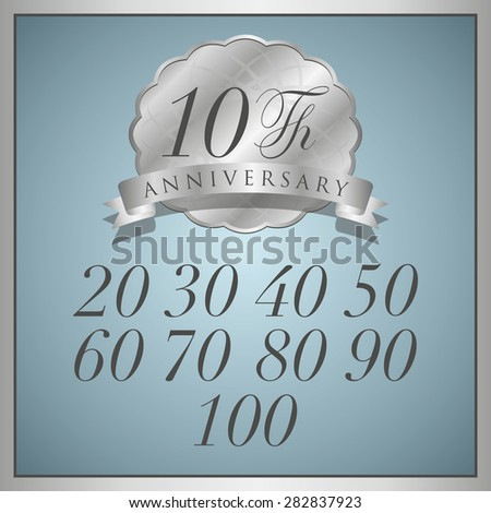 anniversary platinum label with ribbon - stock vector