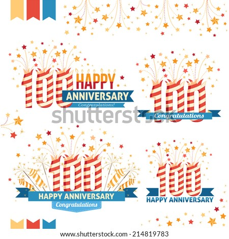 Anniversary 100th emblems with fireworks numbers, sparklers and ribbons with congratulations.  - stock vector